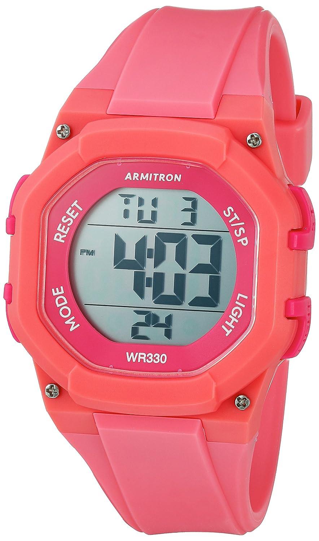 Armitron Sport Women 's 45 /7080pnkホットピンクAccented Digitalクロノグラフコーラルカラー樹脂ストラップウォッチ B01N48NES3