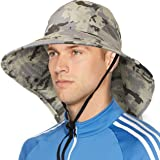 Wide Brim Sun Hat with Neck Flap, UPF50+ Hiking Safari Fishing Hat for Men Women