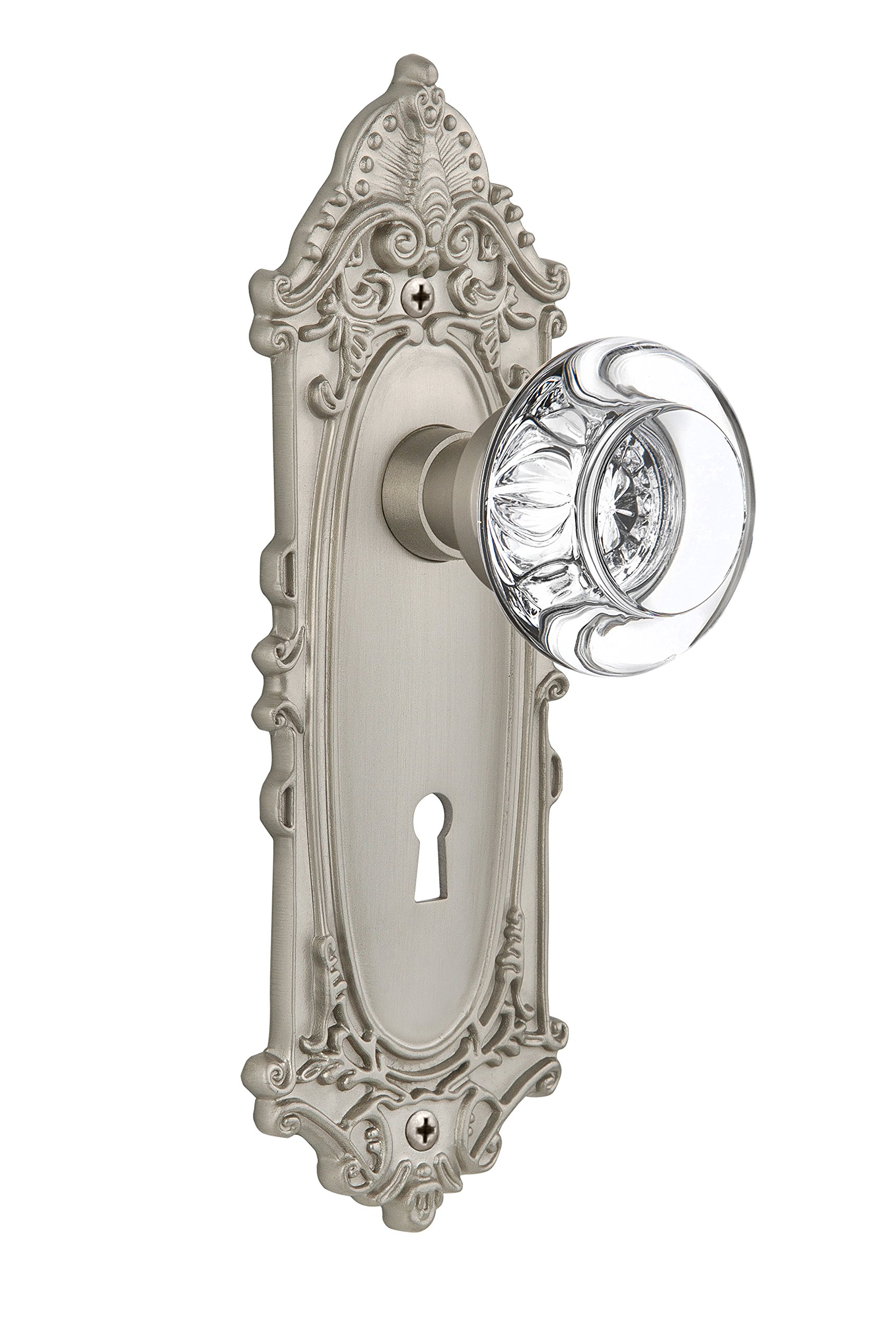 Nostalgic Warehouse Victorian Plate with Keyhole Round Clear Crystal Glass Knob, Passage - 2.375'', Satin Nickel