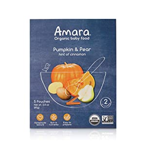 Amara Organic Baby Food   Pumpkin Pear   Homemade Made Possible   Mix with Breastmilk or Water   Certified Organic, Non-GMO, No Added Sugars  Stage 2   5 Pouches