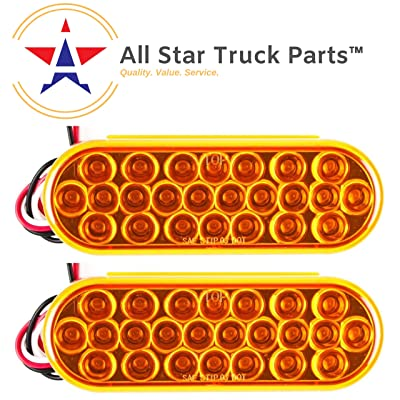 "[ALL STAR TRUCK PARTS] 6"" Oval LED Recessed Amber Strobe Light, 24 LED DOT/SAE Approved & Marked, Waterproof, Super Bright High Powered Strobe for Towing (2PC Without Grommet): Automotive"