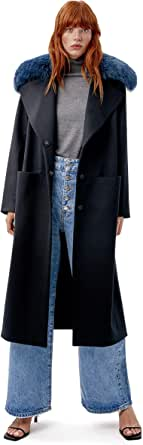 Miguel Marinero Abrigo de Mujer Negro con Pelo en el Cuello
