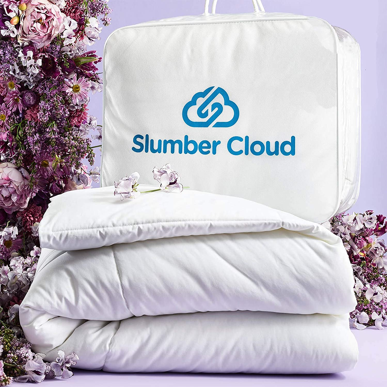 SLUMBER CLOUD Lightweight Cumulus Comforter - NASA Temperature Regulation Technology - Down Alternative Cooling Comforter - Hypoallergenic (King, Lightweight)