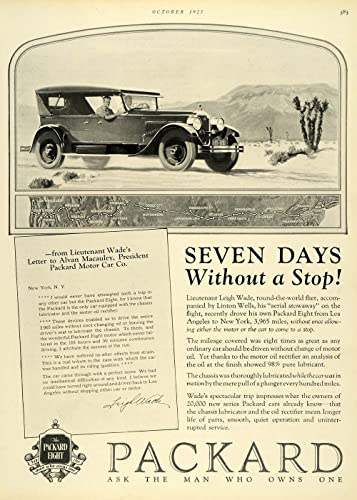1925 Ad Lieutenant Leigh Wade Packard Eight Automobile Letter Dessert Trip Car - Original Print Ad