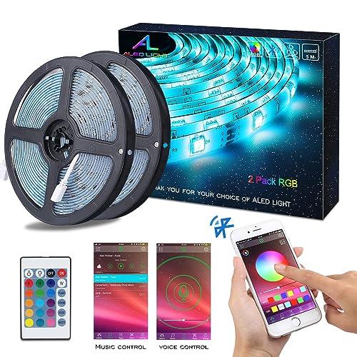 Tiras de LED Bluetooth ALED LIGHT 5050 RGB 2x5 metros Luces de Tira LED 300 Banda de Luz Impermeable de Controlada por Control Remoto 44K o Teléfono Inteligente para El hogar Exteriores y Decoración