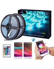 Bluetooth LED Strips, ALED LIGHT 5050 RGB 2x5 meters LED Strip Lights 300 LED Waterproof Light Band Controlled by Remote Control 44K or Smart Phone for Home, Outdoors and Decoration [Energy efficiency class A +]