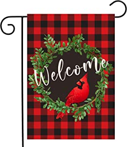 Dazonge Cardinal Christmas Garden Flag | Wreath Welcome Garden Flag 12.5 x 18 Inch | Buffalo Check Plaid Winter Yard Flag Double Sided | Rustic Christmas Yard Decorations | Holiday Outdoor Flags