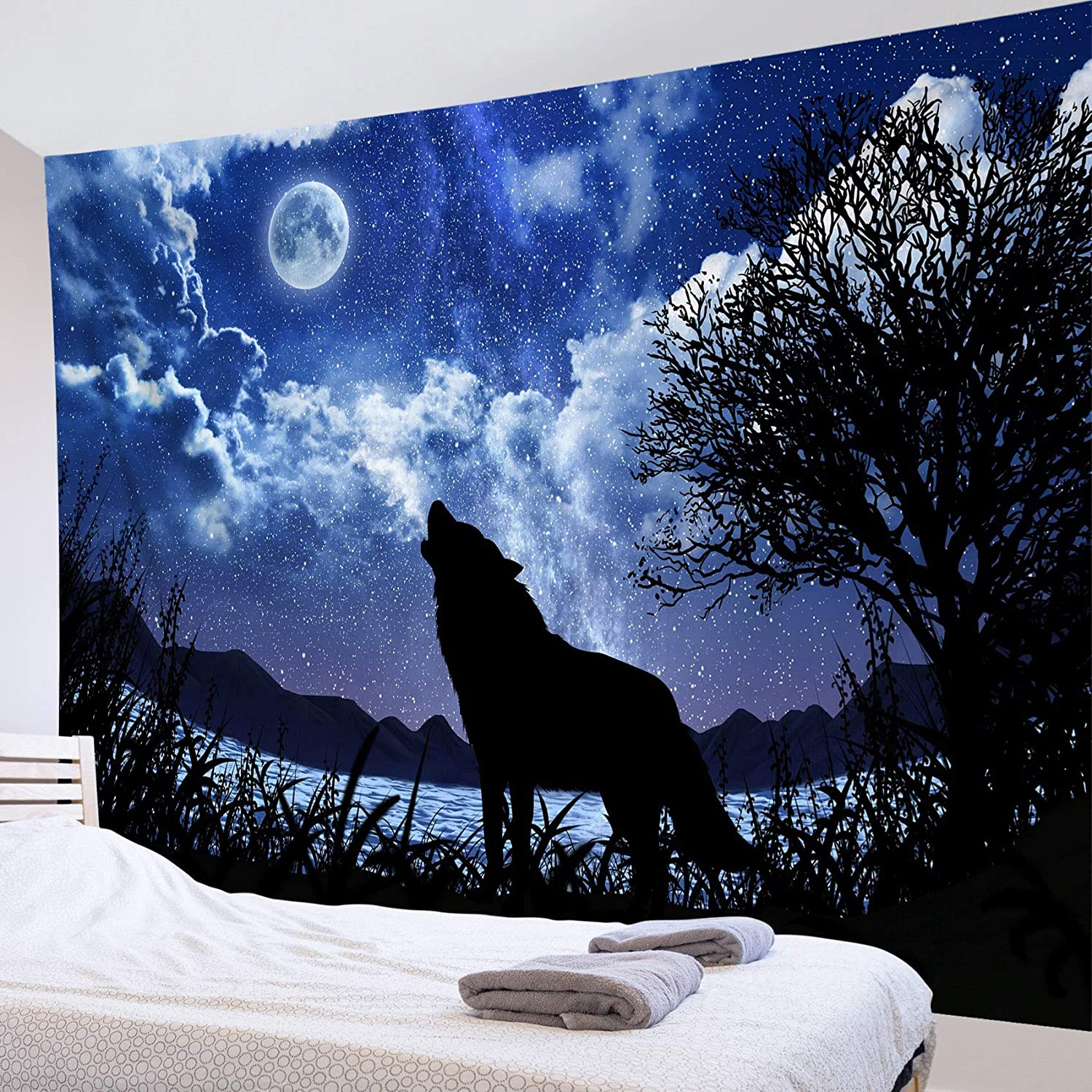 HVEST Wolf Tapestry Wall Hanging Night Starry Sky Tapestry Full Moon and Stars Tapestry Wild Animal Wall Tapestry for Bedroom Room Dorm Party Decor, 60Wx40H Inch