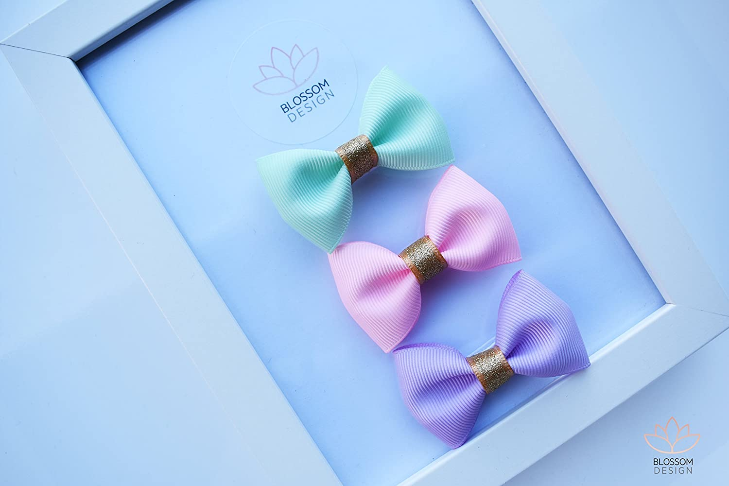 Set Of 3 Pink-Purple-Peach Hair Bows On Alligator Clips