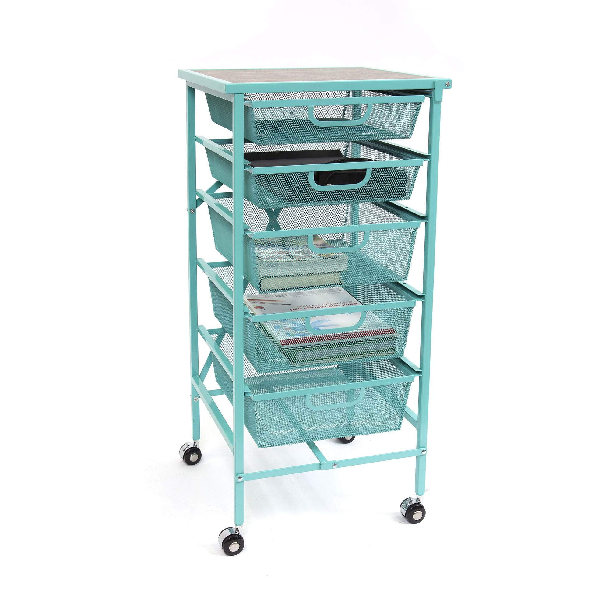 Origami Wheeled Folding Steel 5 Drawer Storage Kitchen Cart Wood Top, Turquoise by Origami