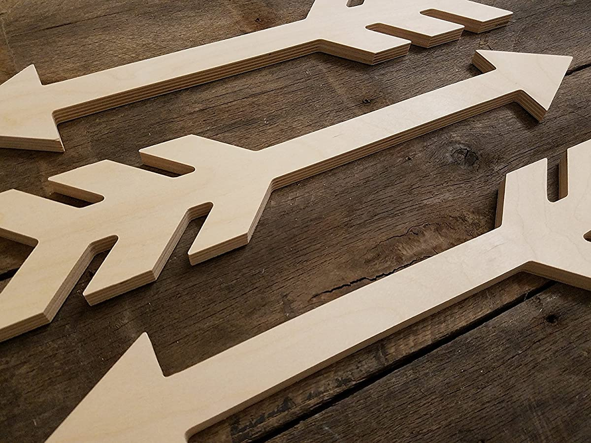 Unfinished Wooden Rustic Arrows Wall Decor