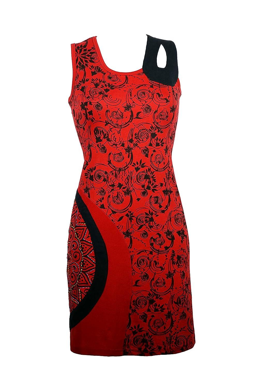 Fröhliches Sommerkleid mit bunten All-Over Muster und einzigartigen Details - AGNI (rot)