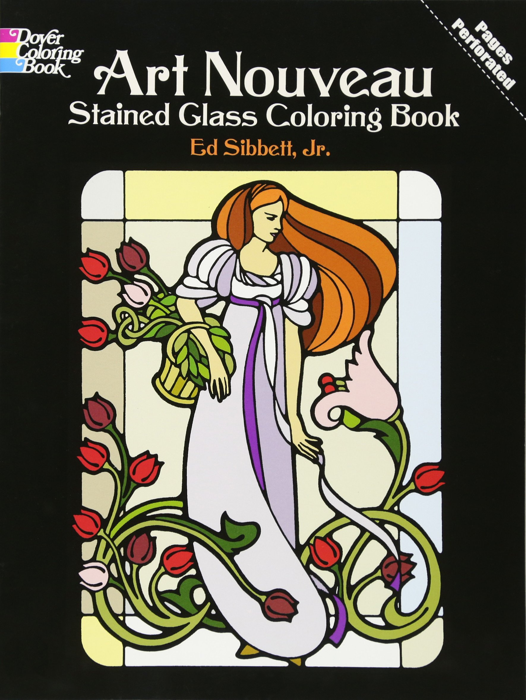 art nouveau stained glass coloring book dover design stained glass coloring book ed sibbett jr 9780486233994 amazoncom books - Stained Glass Coloring Books