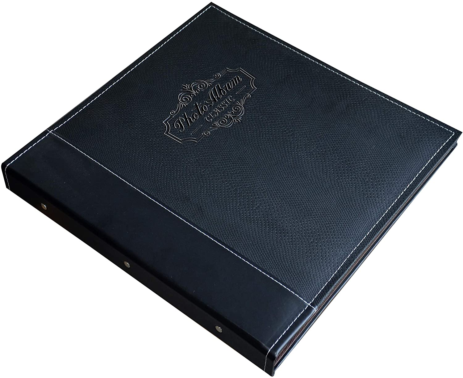 Leather Cover Magnetic Self-Stick Page 4X6 Black, Large Hand Made DIY Albums 6X8 8X10 Photos Zoview Art Photo Album Holds 3X5 5X7