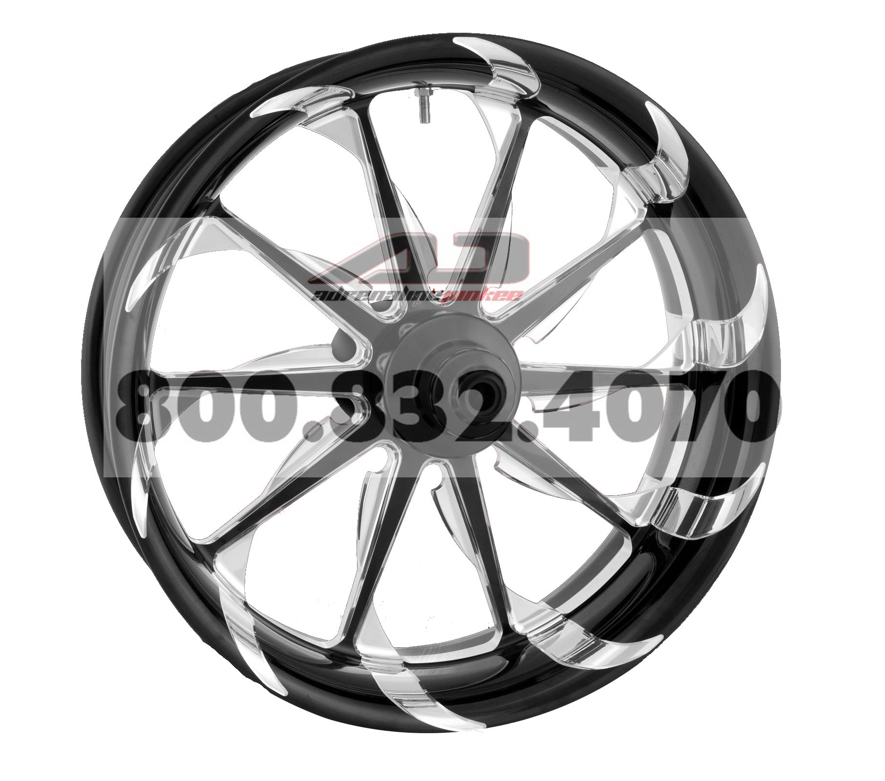 Xtreme Machine Launch Single Disc Front Wheel - 18x3.5 - Black Cut Xquisite , Color: Black, Position: Front, Rim Size: 18 1245-7806R-XLA-BMP by Xtreme Machine