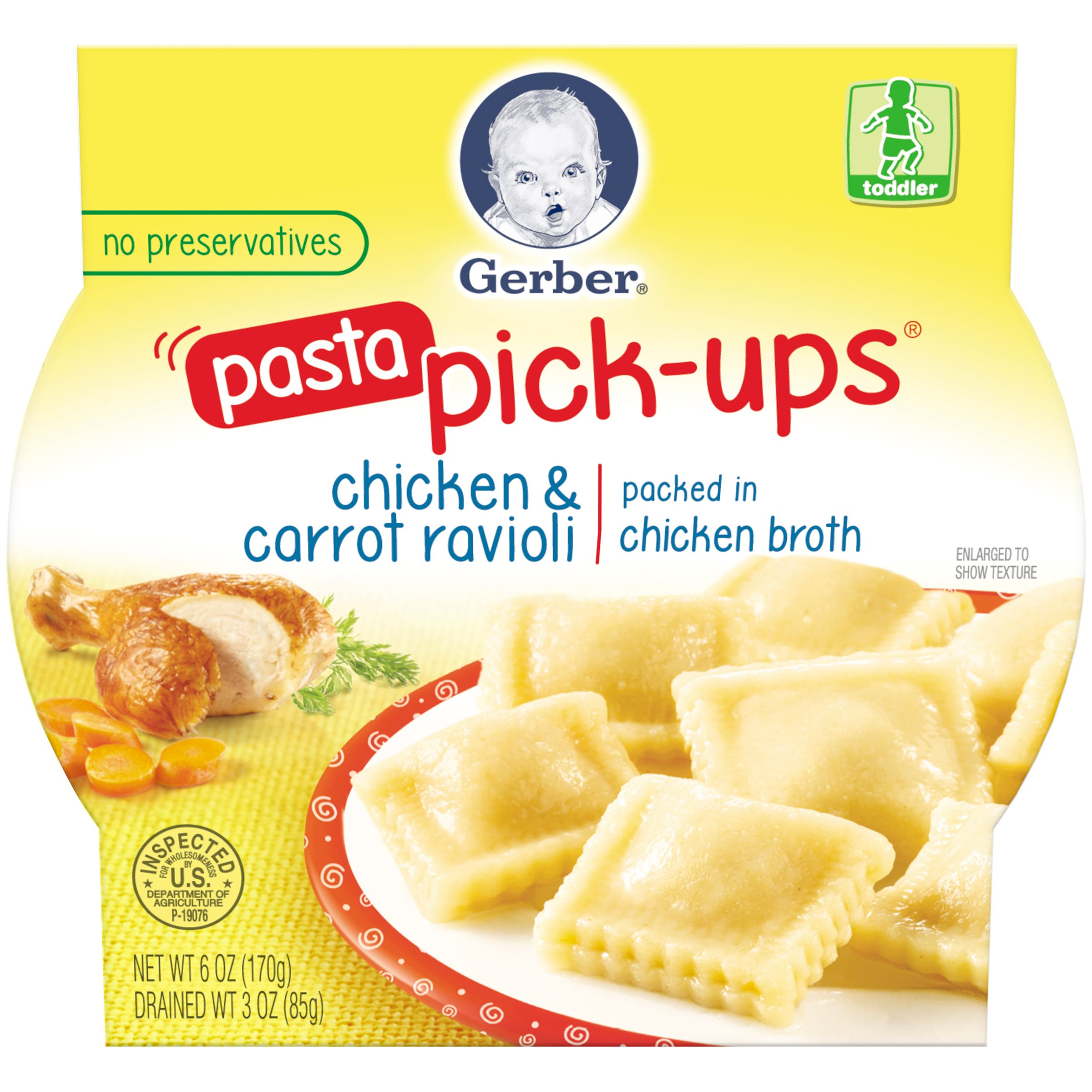 Gerber Graduates Pasta Pick-Ups Ravioli, Chicken and Carrot, 6 Ounce (pack of 8)