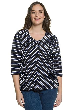 360d9969 Ulla Popken Women's Plus Size 3/4 Sleeves V-Neck Cotton Shirt Sapphire Blue
