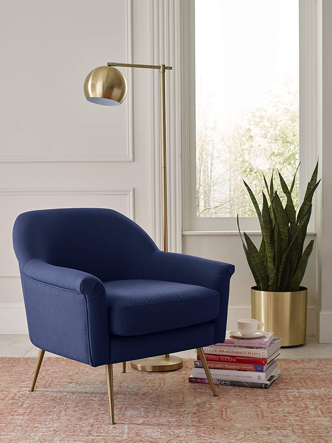 Elle Decor UPH10060B Ophelia Accent Chair Navy