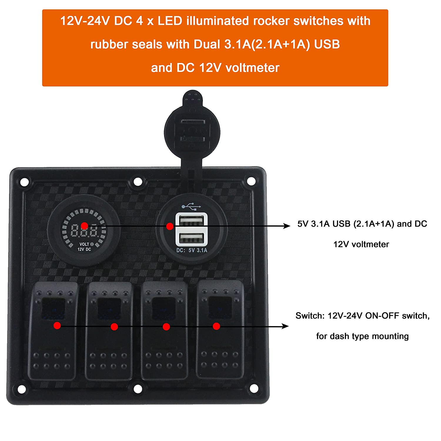 Iztor Waterproof 4 Gang Blue Led Marine Boat Rocker Switch 1 Style Choose On Off Toggle Panel With Dual 31a Usb 12v Flashing Alarm Display Voltmeter Inline Fuses And