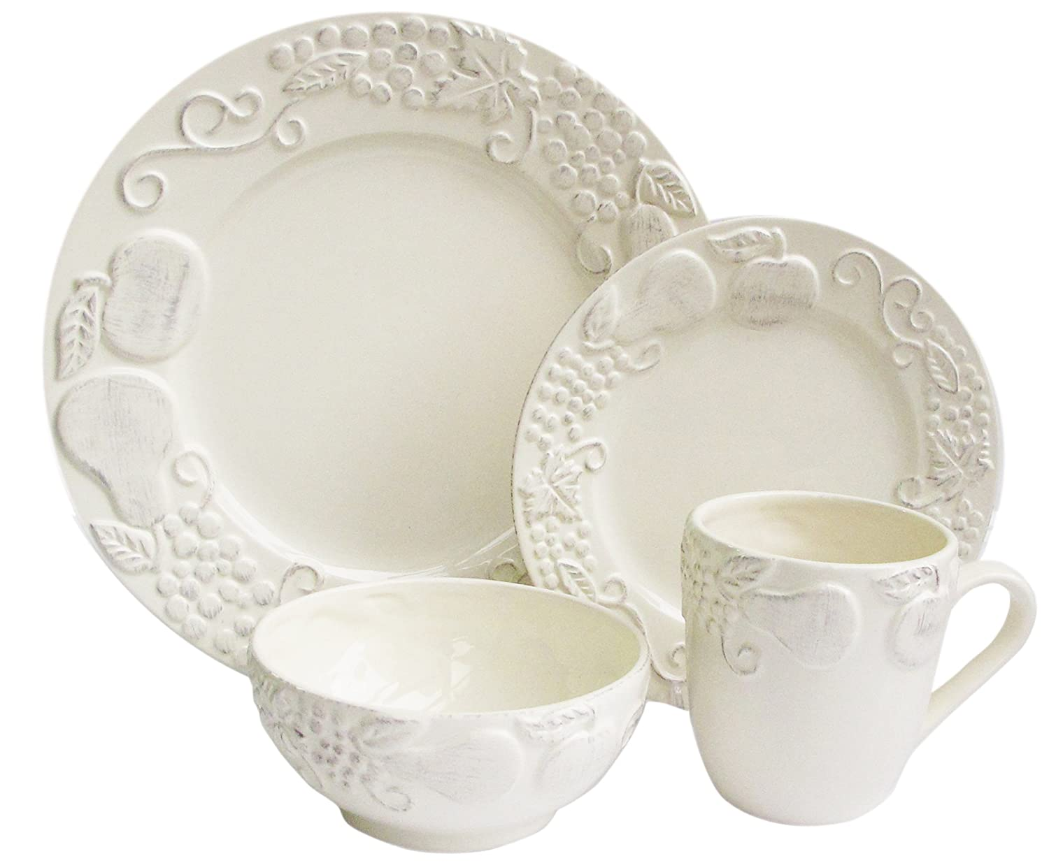 Amazon.com | American Atelier Frutta 16-Piece Dinnerware Set Cream Dinnerware Sets  sc 1 st  Amazon.com & Amazon.com | American Atelier Frutta 16-Piece Dinnerware Set Cream ...