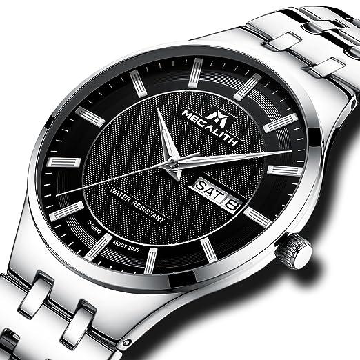 759f40e74102 Montre Homme Acier Inoxydable Montre Bracelet de Luxe Mode Etanche Date  Calendrier Classique Très Mince Quartz
