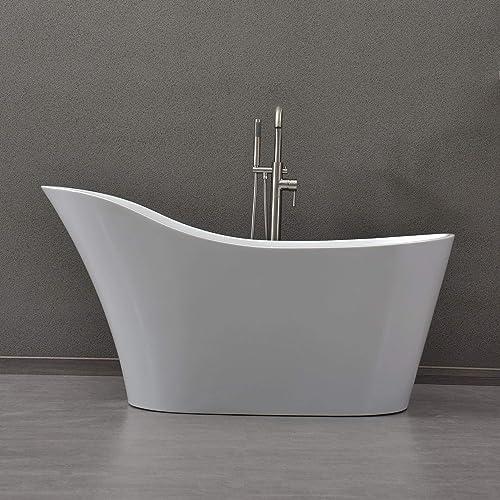 WOODBRIDGE Freestanding Bathtub with Chrome Overflow and Drain, 59 B-0029