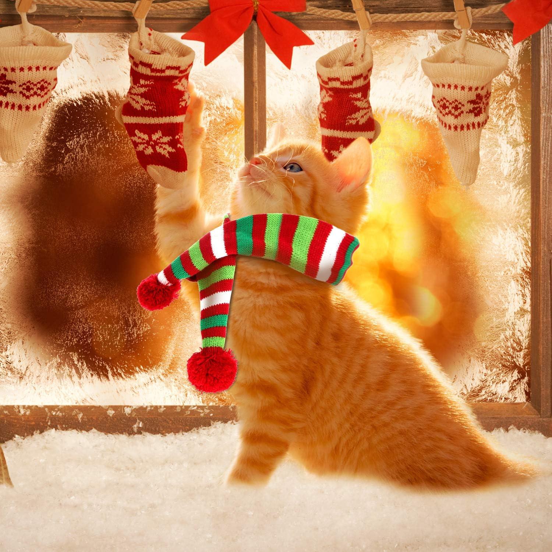 Blulu 2 St/ück Weihnachten Haustier Stricken Schal Hund Winter Gestreiften Schals Weihnachten Haustier Kost/üm Zubeh/ör