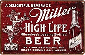 LIPTOR Miller High Life Beer Metal Poster Plate Vintage Style Wall Ornament Coffee & Bar Decor Home Gift 8X12Inch