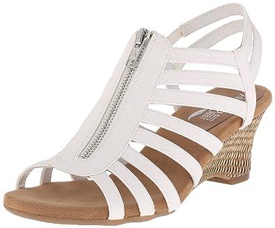 Aerosoles Women's Half Dozen Wedge Sandal, White Snake, ...