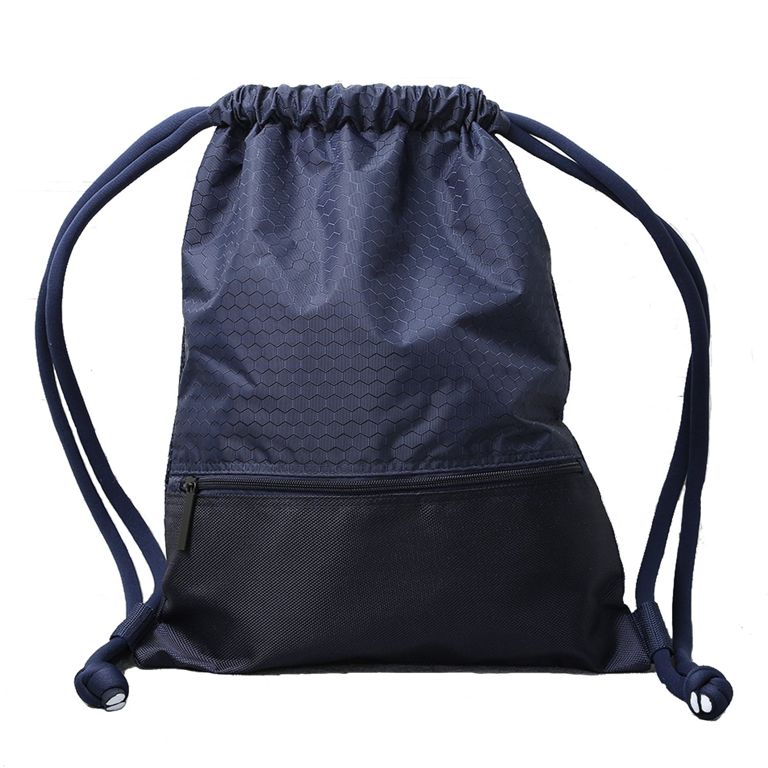 Double Sturdy Drawstring Bag With Pockets Waterproof | For Sports & Workout Gear | Large Capacity String Backpack | 8 Colors (Large, Navy) by Haoguagua (Image #1)