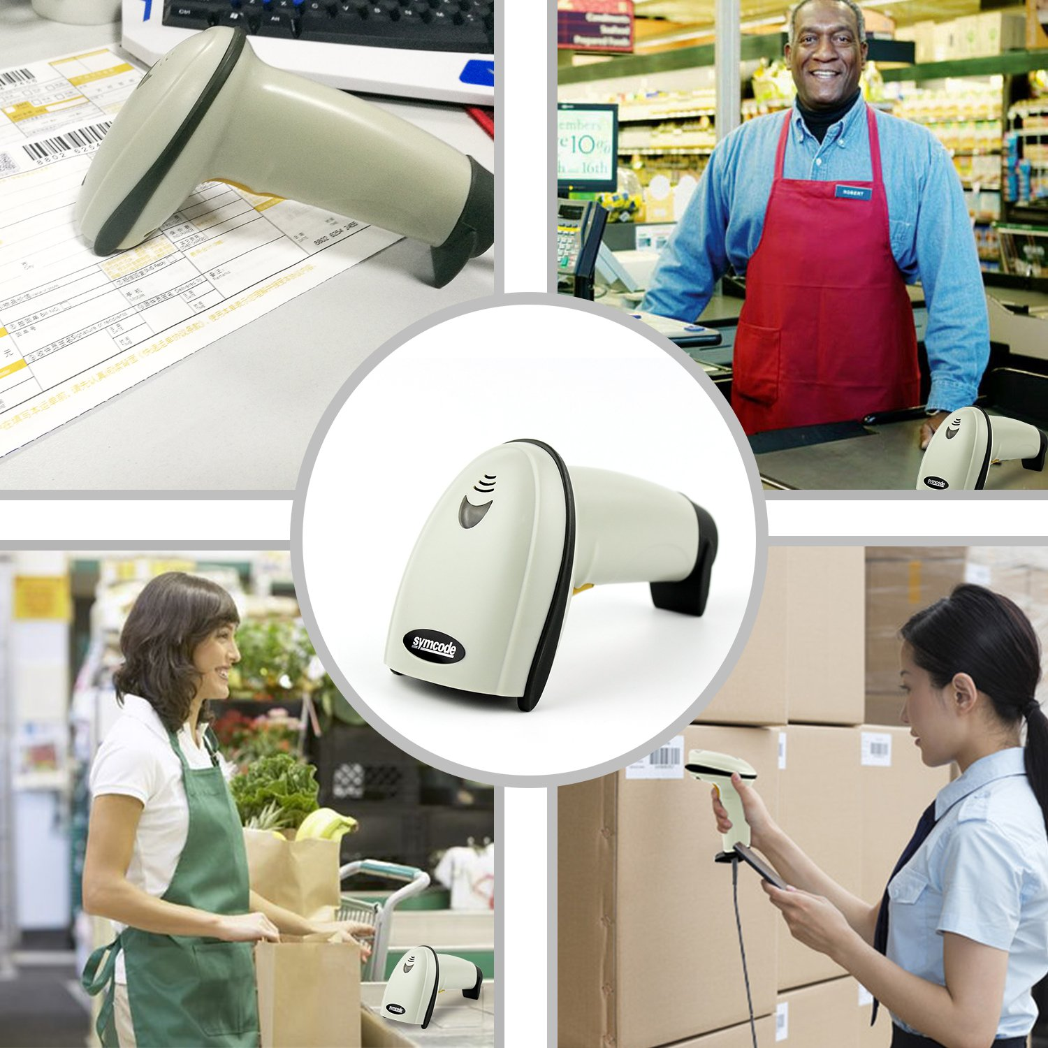 Barcode Scanner,Symcode USB Laser Wired Scan Handheld Bar Code Reader Small and Exquisite Black