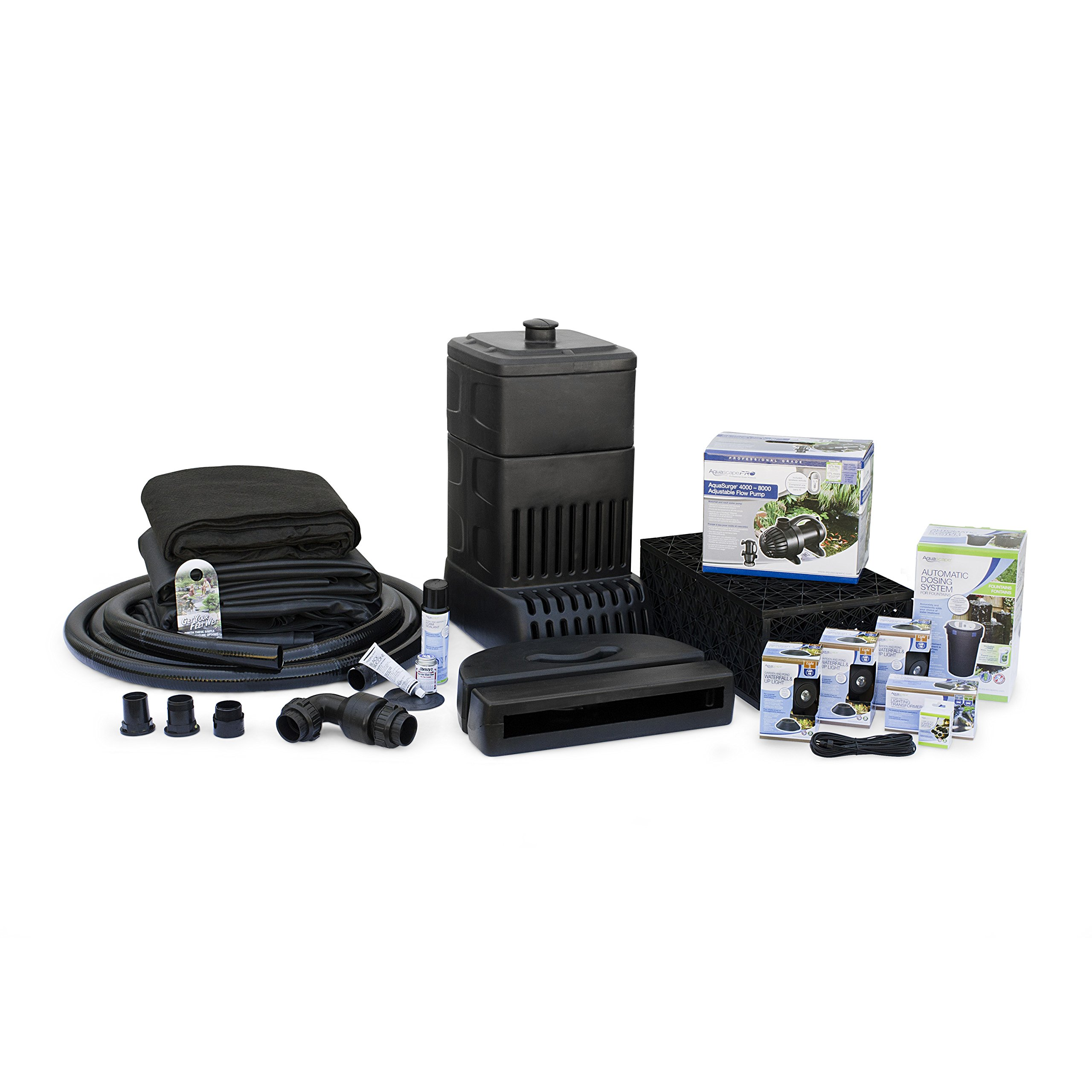 Aquascape Complete Waterfall Kit with 26 Feet Stream | Large | AquaSurgePRO 4000-8000 Pump by Aquascape