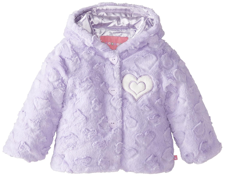 Wippette Little Girls' Heart Embossed Fuax Fur Coat WG16