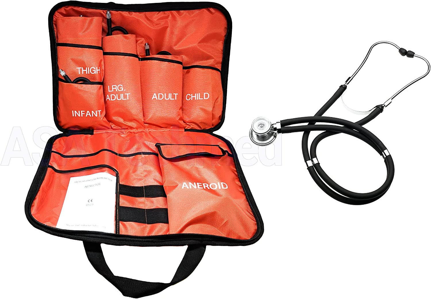 5 Cuffs Blood Pressure Aneroid Sphygmomanometer Cuff System + Black Stethoscope for Infant, Child, Adult, Large Adult, Thigh - EMTs, Paramedics, Nurses, Doctors, Students