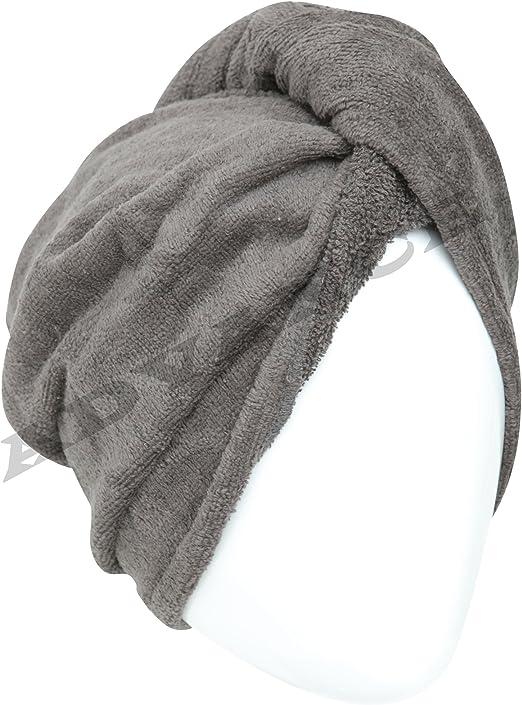 Toalla de pelo estilo turbante de 100 % algodón, negro, Estándar ...