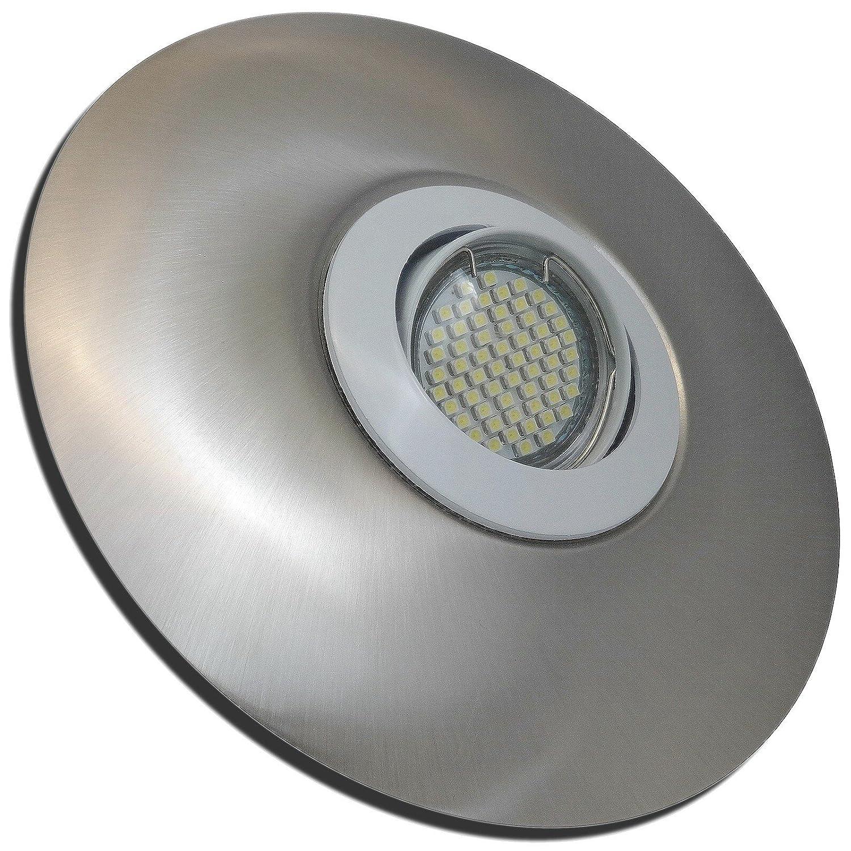 4 Stück SMD LED Einbaustrahler Big Linus 230 Volt 5 Watt Step Dimmbar Schwenkbar Weiß + Edelstahl geb.   Warmweiß