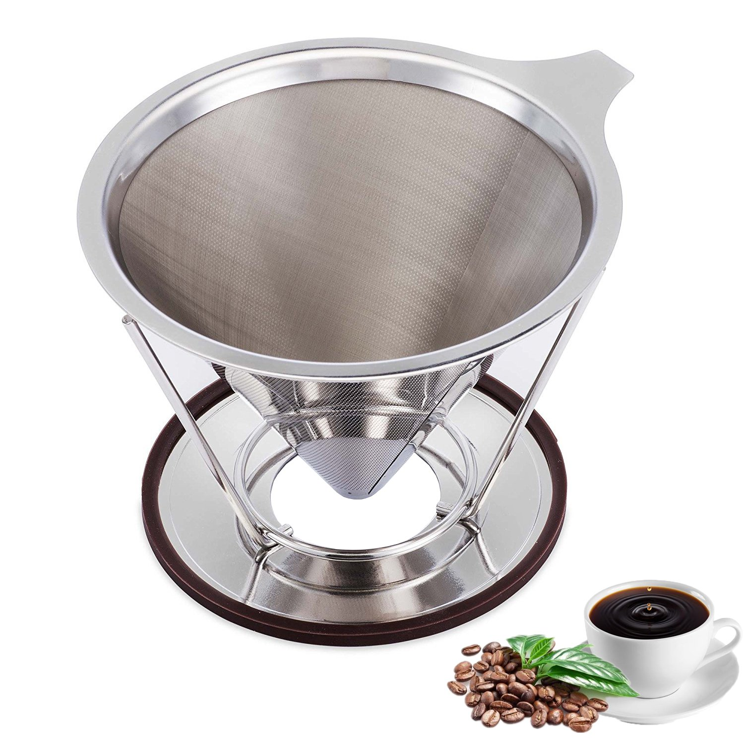 ACEHOOM Pour Over Coffee Dripper Clever Coffee Dripper Reusable Coffee Filter Single Cup Pour Over Coffee Maker Stainless Steel Permanent Drip Cone 1-4 Cup for Osaka Chemex Carafes with Stand Holder