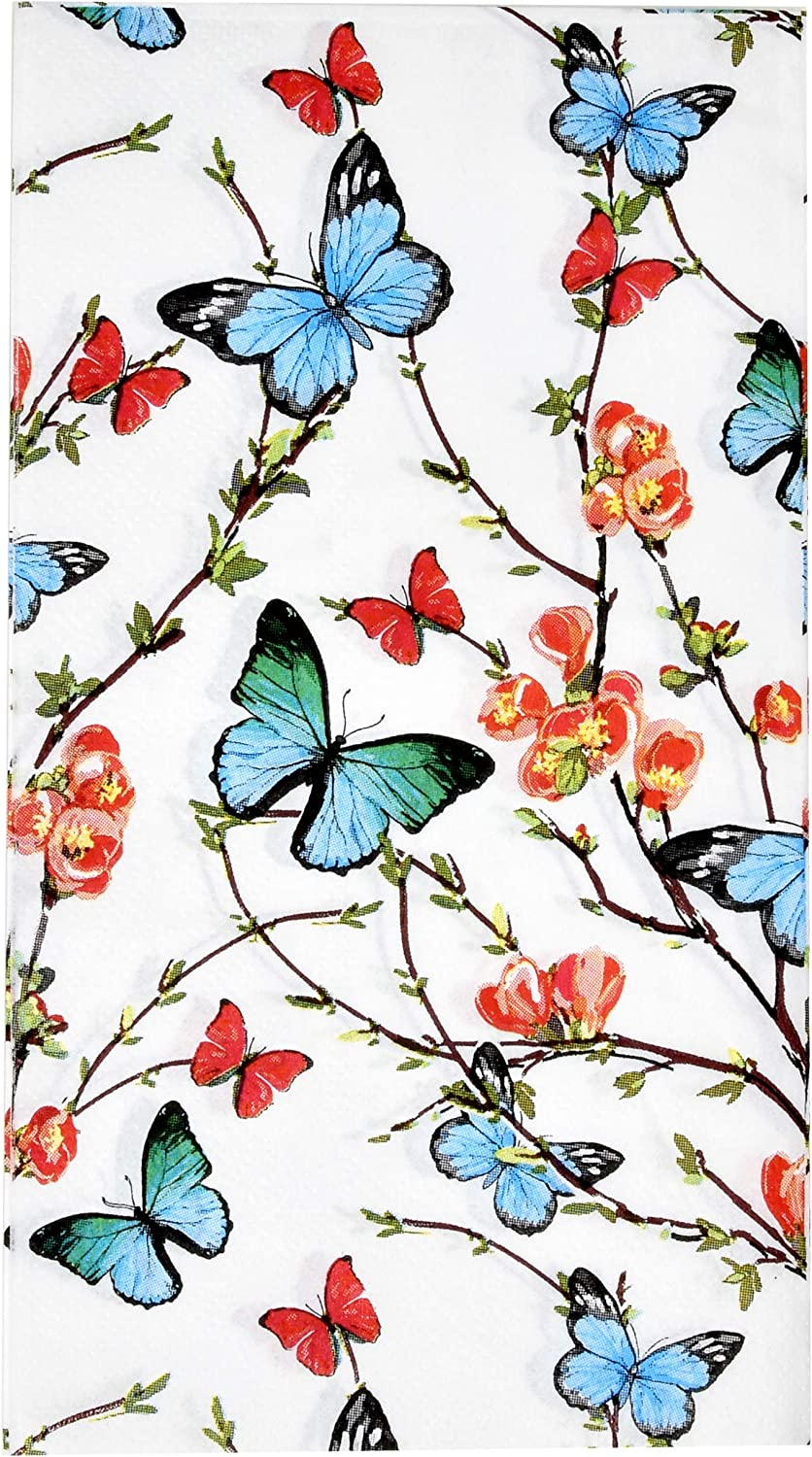 100 Butterfly Guest Napkins 3 Ply Disposable Paper Pack Spring Butterflies & Flowers Dinner Hand Napkin for Bathroom Wedding Holiday Anniversary Birthday Party Bridal & Baby Shower Decorative Towels