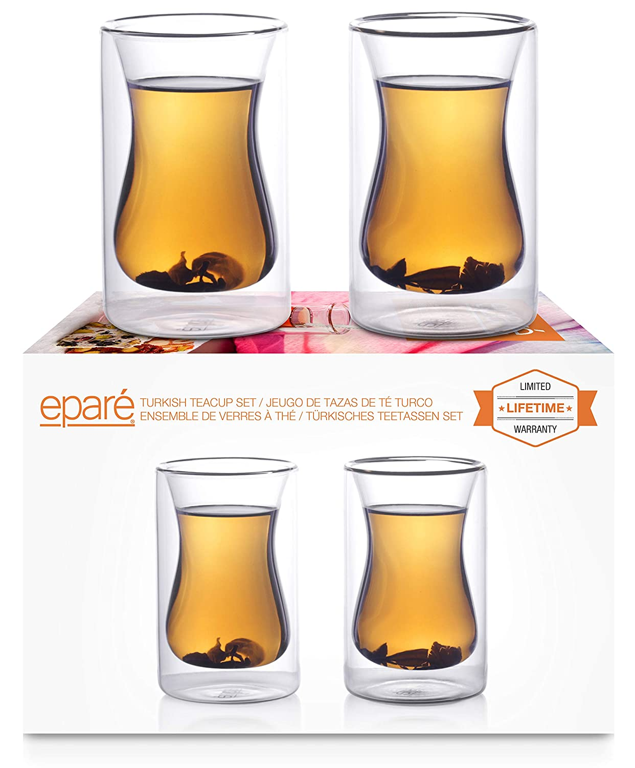 Eparé Insulated Glass Tea Cup Set (6 oz, 180 ml) -Double Wall Infuser Tumbler Cups – Mug for Drinking Turkish Coffee, Espresso, Matcha, Detox or Fit Chai – 2 Glasses