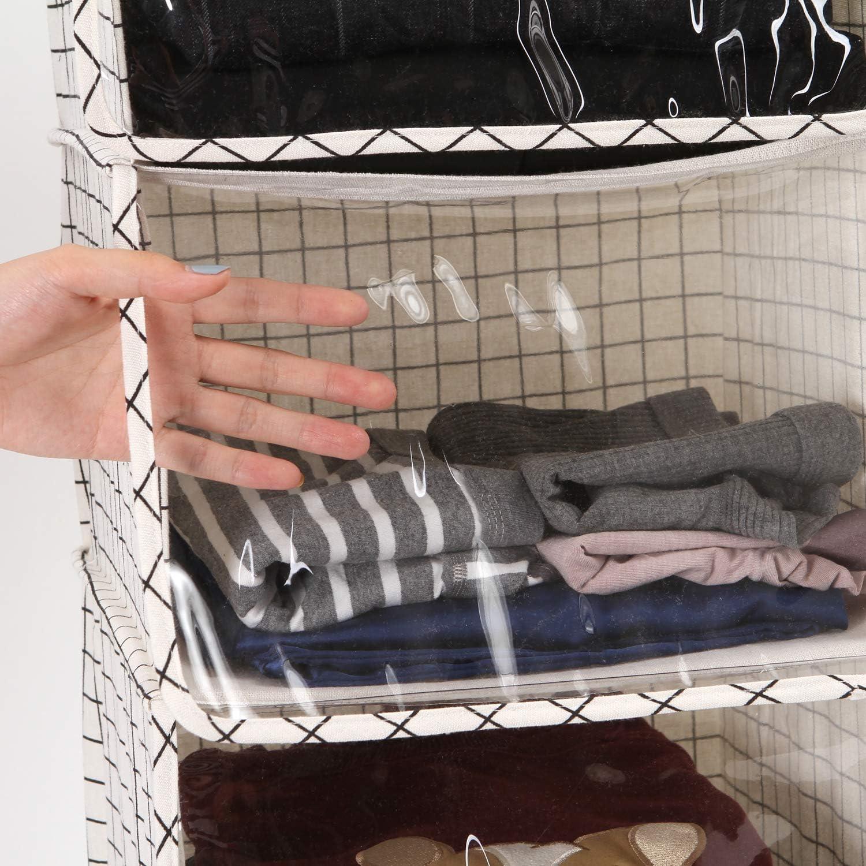 Sea Team Organizador de armario con 4 compartimentos separadores y suave cortina transparente para almacenamiento de ropa en el hogar plegable en la pared para colgar en tela de lino de algod/ón