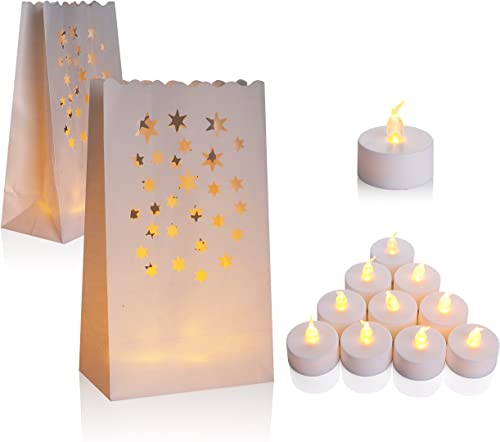 AceList 50 Set Luminaries Bag Candles Bags Flameless Tea Light for Wedding Party Event – Star