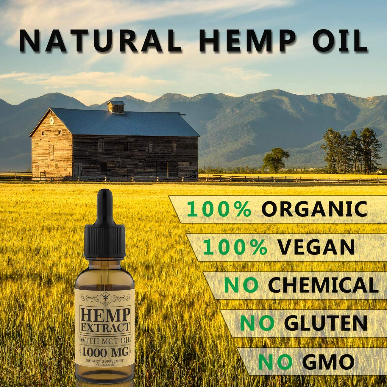 Hemp Oil Tincture 1000mg for Pain Relief, Stress and Anxiety Relief, Better Sleep - Organic Hemp Extract, 100% Natural Hemp Oil Extract with MCT Oil - Made in USA