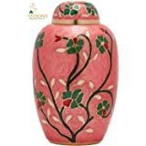 Cremation Urn - Flower Funeral Urn for Human Ashes - Burial urn with lacquer finish - 100% Brass - Flora Pink