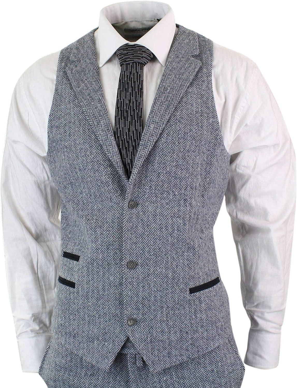 Vintage mens 3 pc suit three piece gray herringbone wool mod jacket blazer vest size M medium 40 pants 3629 retro wedding prom 40S short