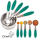 Chef U Stainless Steel Measuring Cups and Spoons, Set of 10, Premium Quality Engraved Metric US Liquid Measurement, Rust Proof, Food Grade Soft Silicone Grip, Nested Stackable Kitchen Tools (Teal)