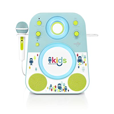 Singing Machine Kids Mood LED Glowing Bluetooth Sing-Along Speaker with Wired Youth Microphone Doubles as a Night Light, Blue/Green, (SMK250BG): Musical Instruments