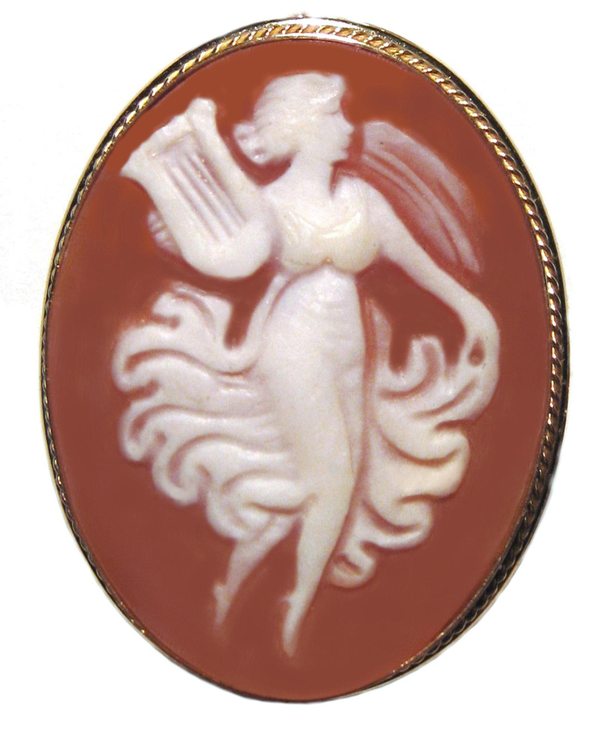 Cameo Broach Pendant Enhancer Master Carved, Goddess of Music Shell Italian Sterling Silver