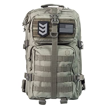 3V Gear Velox II Large Tactical Assault Backpack, MOLLE Compatible for Military Gear, Outdoors, Survival, Hiking, Bug Out Bag Backpack (Black, Grey, Tan, OD)