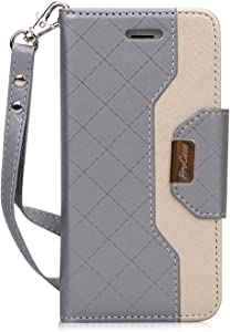 ProCase iPhone SE 2020 iPhone 8 iPhone 7 Wallet Case for Women, Stylish Folio Flip Card Case Stand Cover with Hand Strap Kickstand and Card Holder -Grey