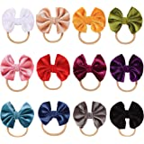 inSowni 12 Pack Solid Velvet Bow Super Stretchy Nylon Headbands Hairbands Hair Accessories Ties for Baby Girls Toddlers…